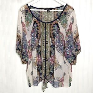 Style & Co paisley print tie front shirt size XL